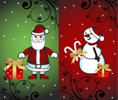Free vector Vector Christmas  Christmas Card with Santa and Snowman Vector Illustration