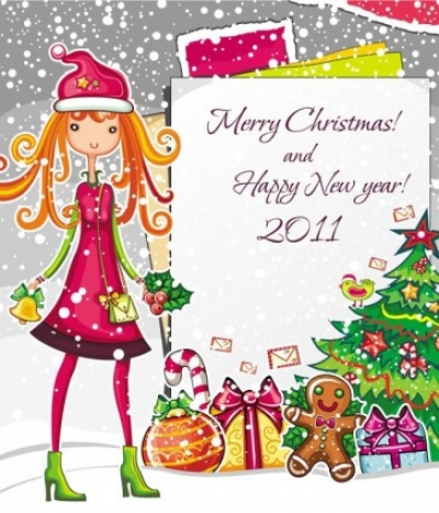 Free vector Vector cartoon  christmas cartoon girl image vector
