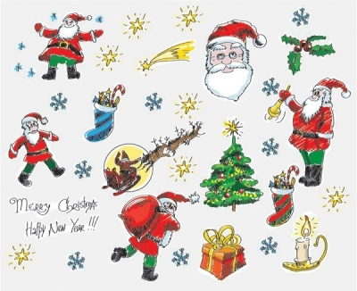 Christmas cartoon style handdrawn elements of vector Free vector 1.03MB