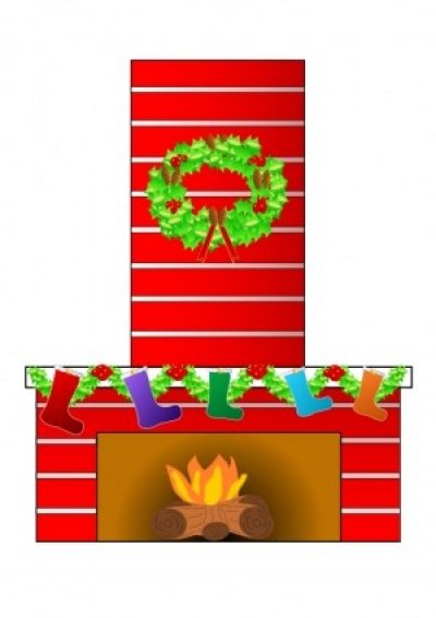 Free vector Vector clip art  Christmas fire place