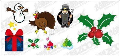 Free vector Vector cartoon  Christmas icon with the vector illustration material