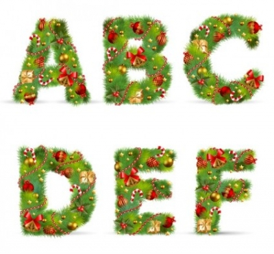 Free vector Vector Christmas  christmas ornaments composed of letters 01 vector