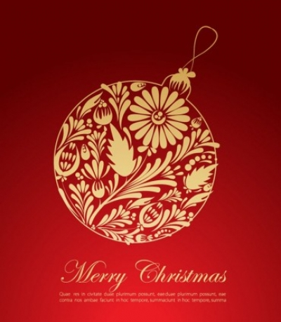Free vector Vector Christmas  Christmas Red Greeting Card Vector Graphic