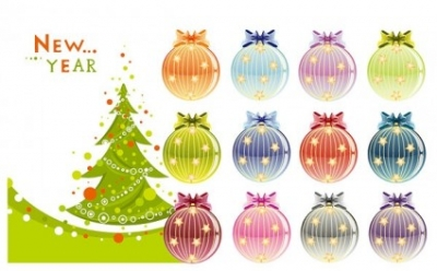 Free vector Vector Christmas  christmas tree and decorative ball vector