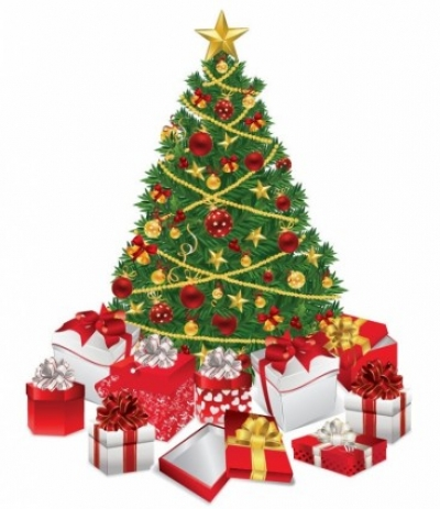 Free vector Vector Christmas  Christmas Tree with Gifts Vector Illustration
