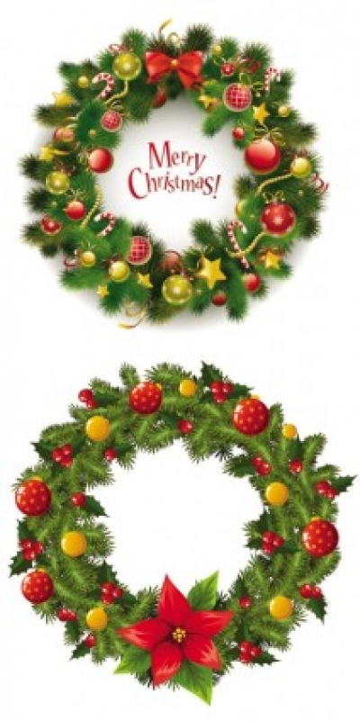 Free vector Vector Christmas  christmas wreath 2 vector