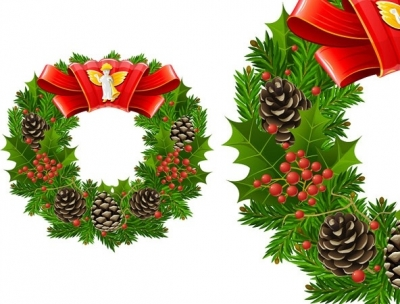 Free vector Vector Christmas  christmas wreath cool texture vector