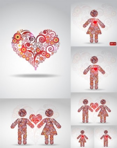 Free vector Vector pattern  circle of love pattern vector composition