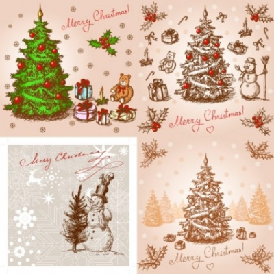 Free vector Vector Christmas  classic handpainted christmas illustration vector