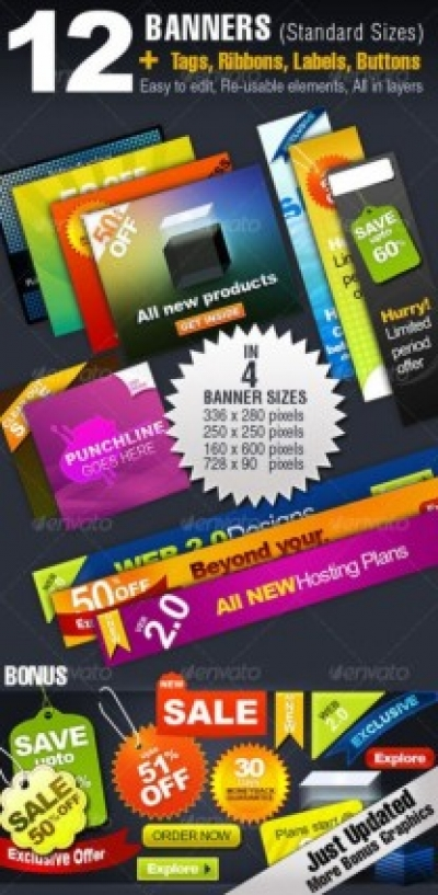 Free vector Vector banner  color labels and banner psd layered