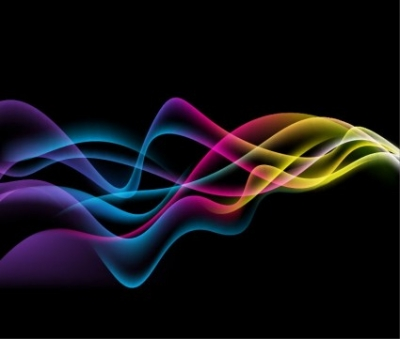 Free vector Vector abstract  Colorful Abstract Waves on Black Background Vector Graphic