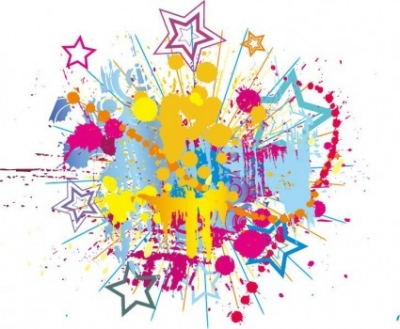 Free vector Vector background  Colorful Bright Ink Splashes with Stars Vector Background