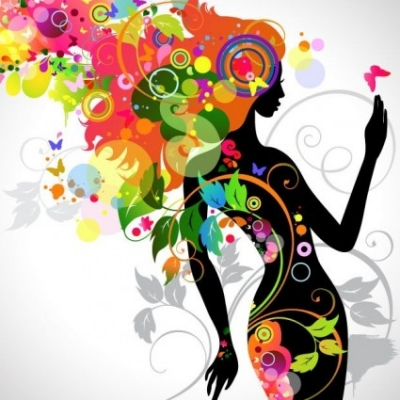 Free vector Vector flower  Colorful Floral Girl Silhouette