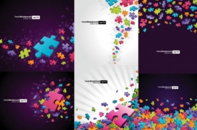Free vector Vector background  colorful puzzle pieces theme vector background