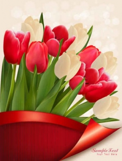 Free vector Vector background  Colorful tulips vector Flowers