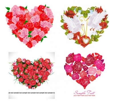 Free vector Vector Heart  composed of vector love roses