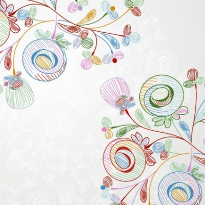Free vector Vector floral  Crayons Style Vector Floral Illustration