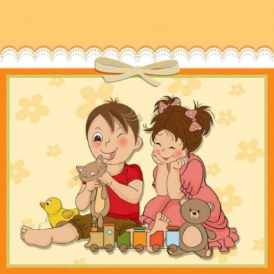 Free vector Vector background  Cute cartoon style children's card design vector02
