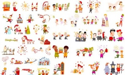 Free vector Vector Christmas  cute christmas characters vector
