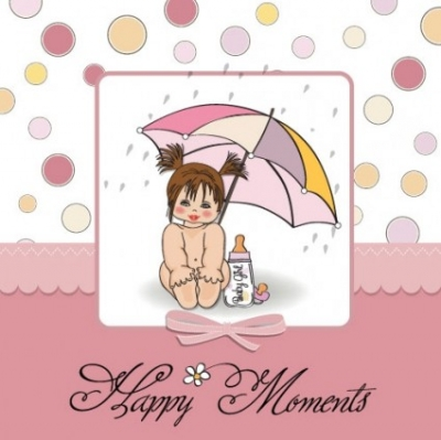 Free vector Vector people  cute girl card 01 vector