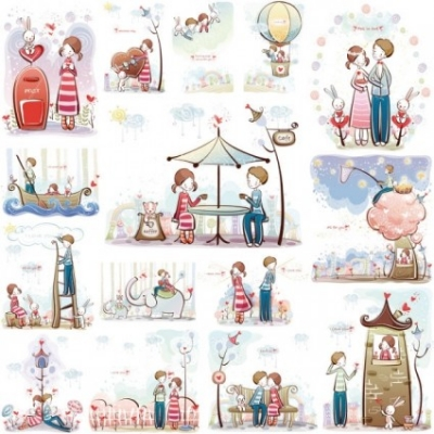 Free vector Vector misc  cute little couple vector 0115