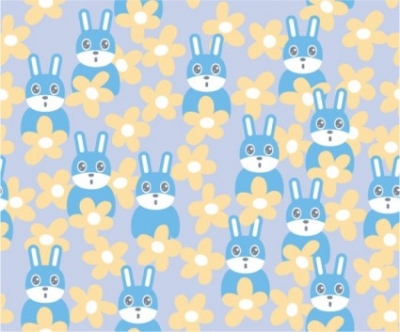 Free vector Vector Animal  cute rabbit continuous background vector flowers
