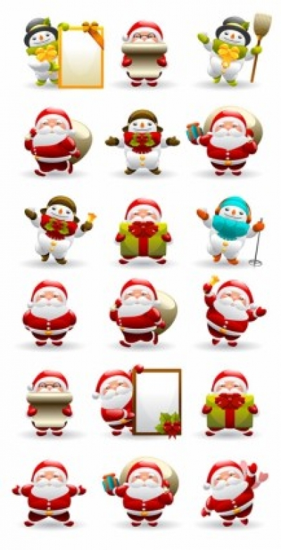 Free vector Vector misc  cute santa claus and snowman vector