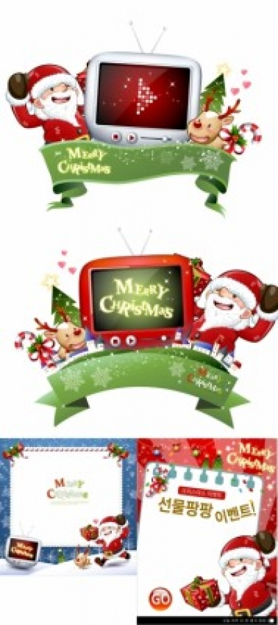 Free vector Vector Christmas  cute snowman and santa claus 02 christmas vector
