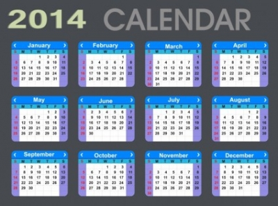 Free vector Vector misc  Detailed 2014 Calendar