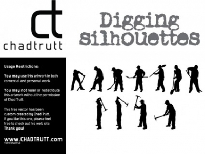 Free vector Vector Silhouettes  Digging Silhouette