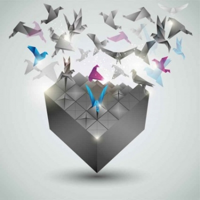Free vector Vector background  dimensional paper cranes background