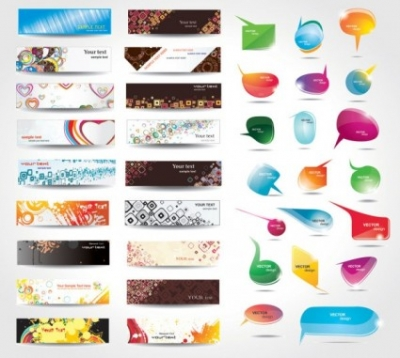 Free vector Vector banner  dynamic colorful banner and dialog boxes vector