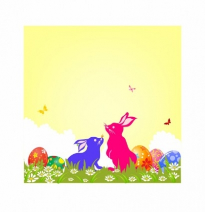 Free vector Vector misc  Easter Bunnies and Eggs