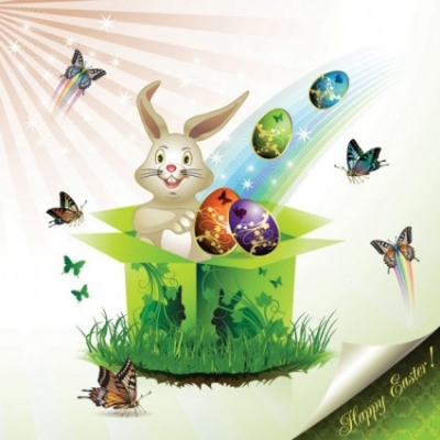 Free vector Vector misc  easter cards and decorations butterfly eggs 02 vector