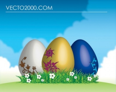 Free vector Vector misc  Easter eggs on green grass