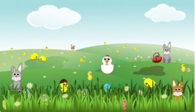 Free vector Vector clip art  Easter Landscape with bunnies, chicks, eggs, chicken, flowers