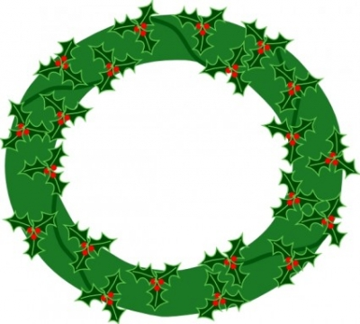Free vector Vector clip art  Evergreen Wreath With Large Holly clip art