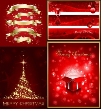 Free vector Vector Christmas  exquisite christmas red elements poster vector