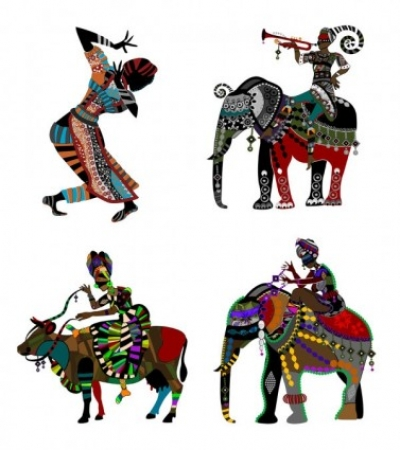 Free vector Vector misc  exquisite decorative painting series two ethnic style vector