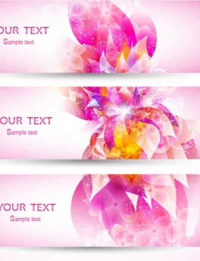 Free vector Vector banner  fantasy flowers background banner template vector 3