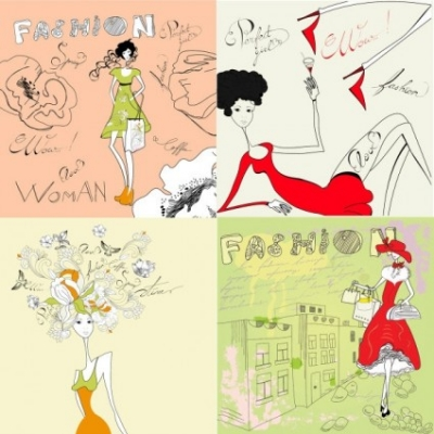 Free vector Vector people  fashion girl stick figure vector