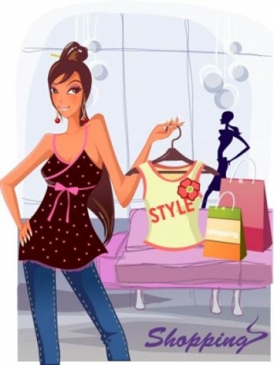 Free vector Vector people  fashion women shopping clip 2