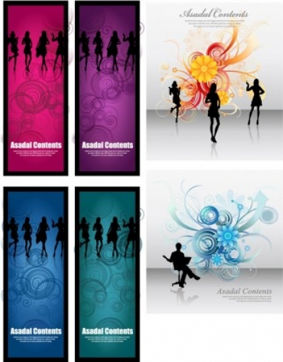 Free vector Vector flower  fashionable female silhouette vector flowers background