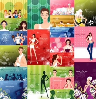 Free vector Vector pattern  female plants with fashion pattern vector 2