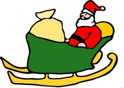 Free vector Vector clip art  Fen Santa In His Sleigh clip art