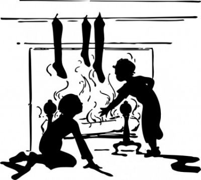Free vector Vector clip art  Fireplace With Christmas Stockings clip art