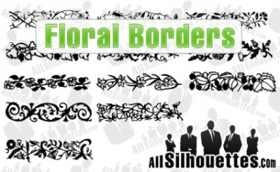 Free vector Vector Silhouettes  Floral Borders