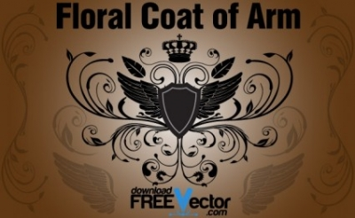 Free vector Vector floral  Floral Coat of Arm