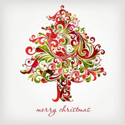 Free vector Vector floral  Floral Swirls Tree for Christmas Vector Graphic