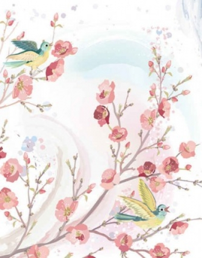 Free vector Vector background  flowers and birds background vector